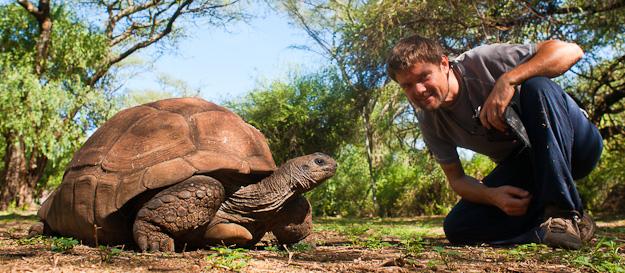 Tanguy Stoeckle en compagnie d'une tortue
